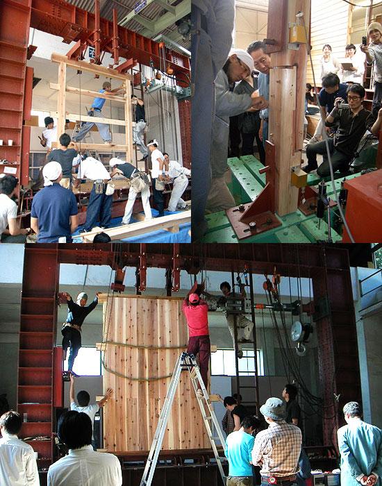 大工塾の実大試験体の実験(柱脚の込み栓・耐力壁)